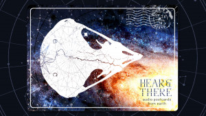 An endemic, endangered owl skull bi-sected by the Pacific Crest Trail and navigational maps floats over a galaxy and star charts