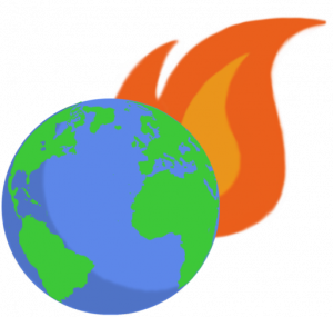cartoon of flaming planet earth