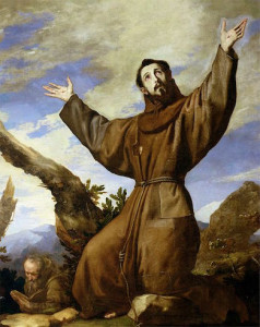 Painting of St Francis in wilds