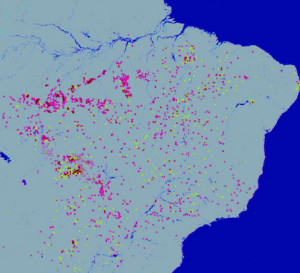map of fires in amazon forest- lots of red dots!