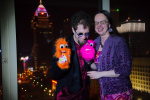 Joshua Samuel Brown, Stephanie Huffman, and puppet friends