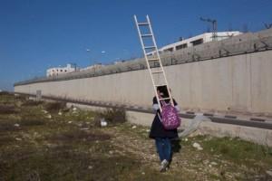 A schoolgirl, a ladder, a wall