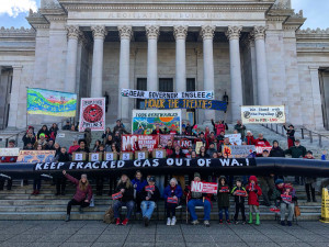 Celebrating Governor Inslee's birthday on the steps of the Washington State Capitol