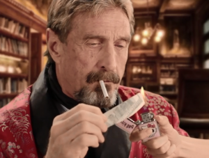 John McAfee arrived in Portland in 2013 after fleeing authorities in Belize.  Along with Chad Essley, he sat down for a Words and Pictures interview on KBOO Radio with S.W. Conser